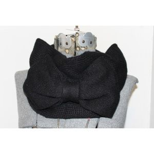 NEW Kate Spade Black Knit Neck Warmer Bow $68